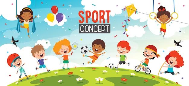 Sportowy projekt koncepcyjny z zabawnymi dziećmi