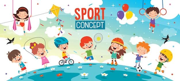 Sportowy Projekt Koncepcyjny Z Zabawnymi Dziećmi Premium Wektorów