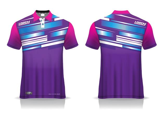 Sportowy projekt koszulki polo, makieta koszulki do badmintona na jednolity szablon