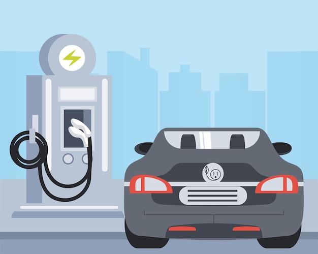 Sportowy samochód elektryczny stacja ładująca ilustracja strefy ekologii