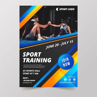 Sportowy styl plakatu ze zdjęciem