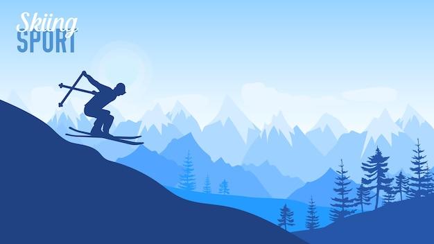 Sportowy styl życia. narciarz zjeżdża z góry na tle gór.