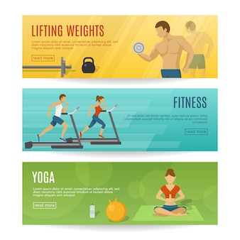 Sportowy styl życia poziome banery zestaw