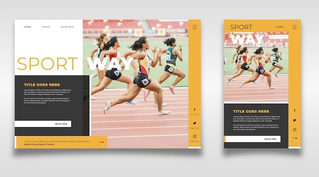 Sportowy szablon strony docelowej z szablonem strony docelowej photosport z szablonem strony docelowej photosport z obrazem
