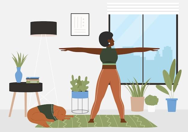 Sportowy trening fitness w domu aktywna młoda sportowa kobieta w treningu odzieży sportowej
