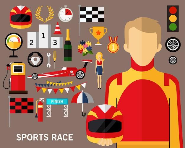 Sportowy wyścig koncepcja tło