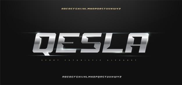 Sportowy zestaw nowoczesnych czcionek alfabetu typografii