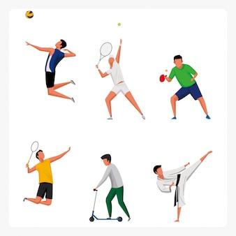 Sportowy zestaw znaków w płaskiej konstrukcji