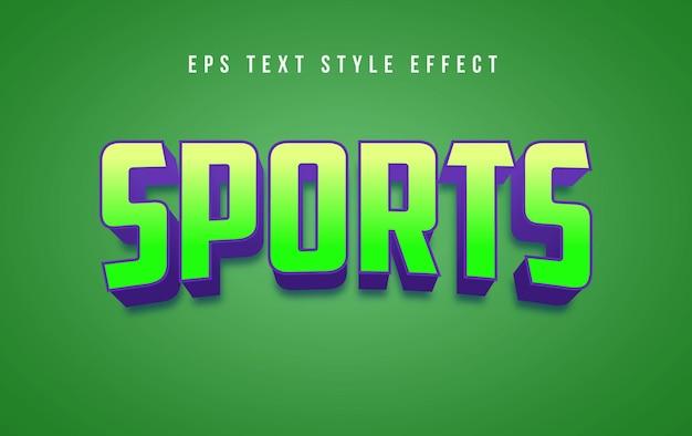 Sportowy zielony efekt edytowalnego stylu tekstu 3d