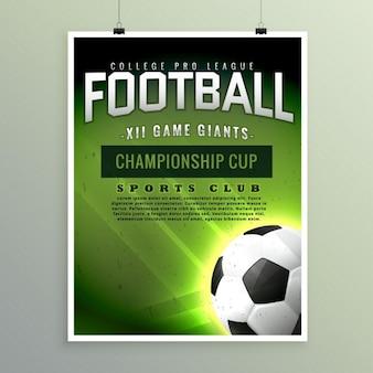 Sportowych w piłce nożnej gra ulotka szablonu
