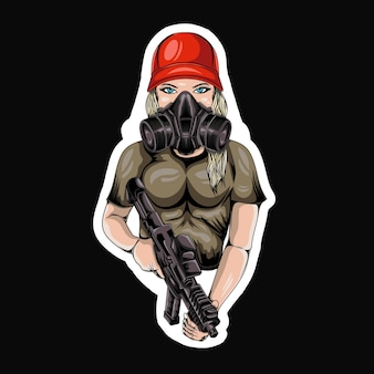 Sports esport girl maskotka logo gaming