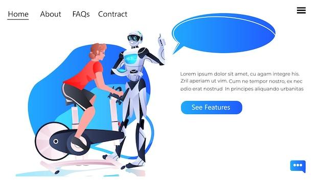 Sportsmenka jeżdżąca na rowerze stacjonarnym z instruktorem robota trening zdrowy styl życia koncepcja technologii sztucznej inteligencji pełnej długości pozioma kopia miejsca ilustracji wektorowych