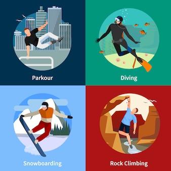 Sporty ekstremalne ludzie 2x2 zestaw ikon z parkour nurkowanie na snowboardzie i wspinaczki