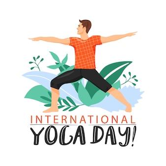 Sporty mężczyzna ćwiczy joga virabhadrasana wojownika joga