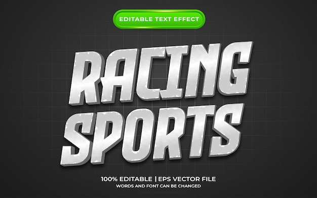 Sporty wyścigowe w stylu srebrnych efektów tekstowych