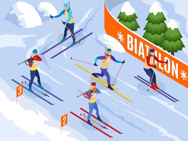 Sporty zimowe ilustrowane izometrycznie sportowcy na nartach biorący udział w zawodach biathlonowych