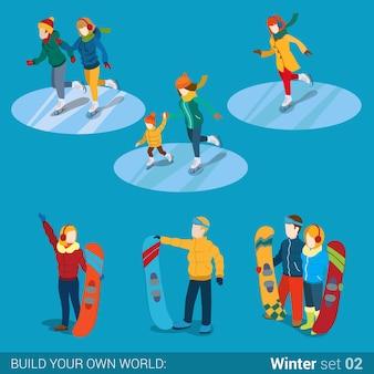 Sporty zimowe młodzi szczęśliwi ludzie aktywność rodzinna zestaw ikon płaska izometria koncepcja izometryczna ilustracja internetowa mama syn chłopiec dziewczyna snowboarder snowboardziści łyżwiarze kreatywni ludzie kolekcja