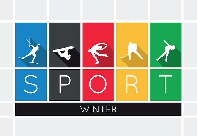 Sporty zimowe, sylwetki na białym tle