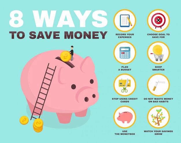 Sposoby oszczędzania pieniędzy infografikę. świnia skarbonka charakter izometrii.
