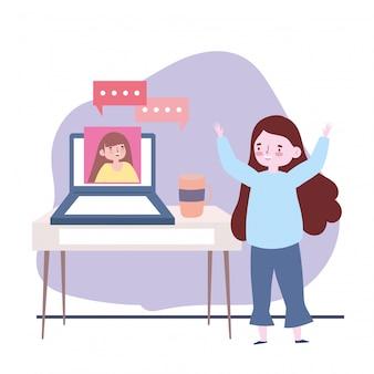 Spotkania z przyjaciółmi, kobiety rozmawiające o laptopie, zachowaj dystans do ochrony covid-19