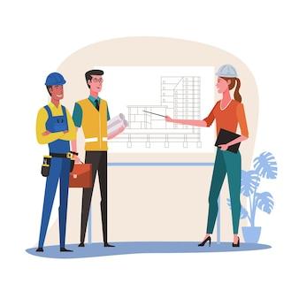 Spotkanie architekta i inżyniera budowlanego dla projektu architektonicznego