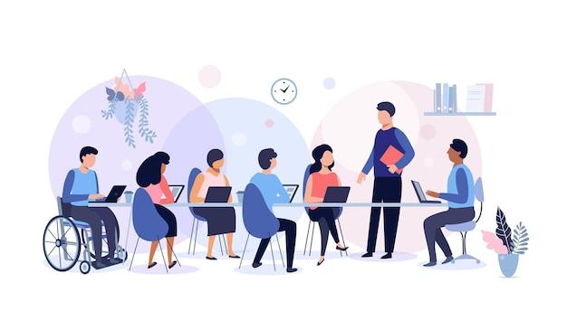 Spotkanie biznesowe i praca zespołowa, grupa osób pracujących w biurze, planowanie, przepływ pracy, koncepcja zarządzania czasem i prezentacji, ilustracji wektorowych.