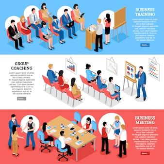 Spotkanie biznesowe izometryczne poziome banery