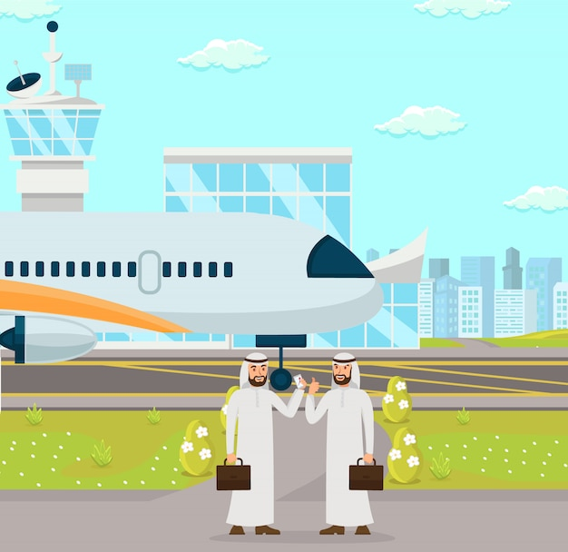 Spotkanie biznesowe na lotnisku. ilustracja wektorowa.