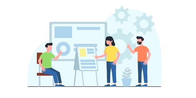 Spotkanie biznesowe płaskie ilustracja. koncepcja przepływu pracy w biznesie, zarządzanie czasem, planowanie, aplikacja do zadań, praca zespołowa. kreatywna płaska konstrukcja banera internetowego, materiałów marketingowych, prezentacji biznesowych