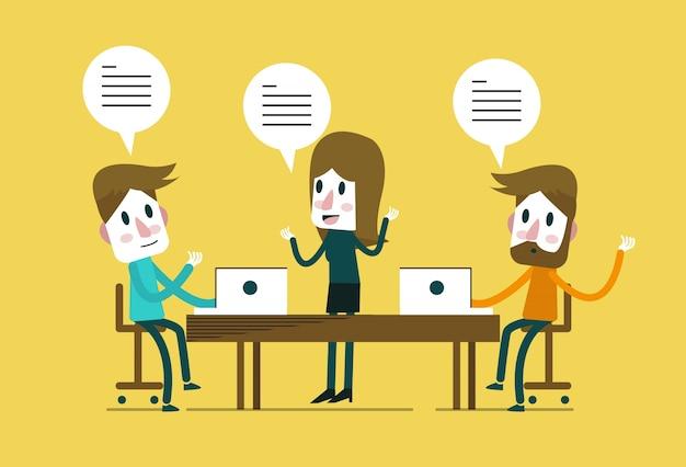 Spotkanie biznesowe. praca zespołowa i koncepcja brainstorm. płaskie elementy