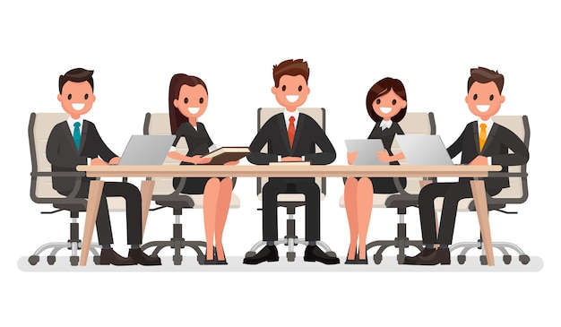 Spotkanie biznesowe przy dużym stole