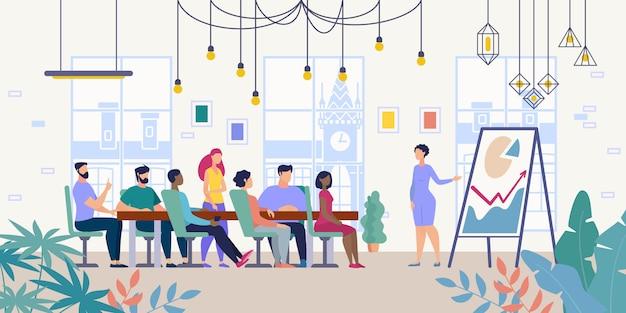 Spotkanie biznesowe w firmie office vector concept