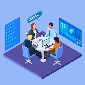 Spotkanie biznesowe w międzynarodowej firmy izometrycznej ilustracji
