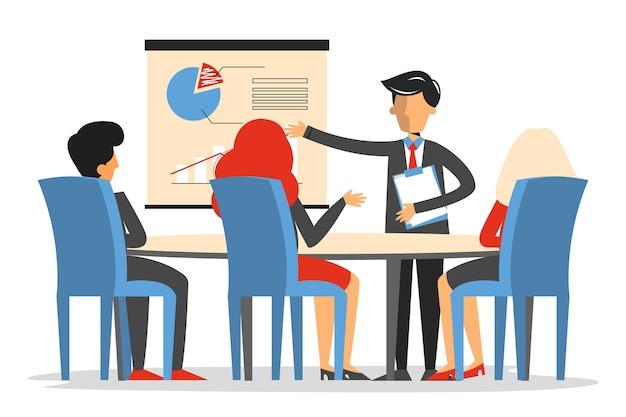 Spotkanie biznesowe w sali konferencyjnej na białym tle. mężczyzna dokonać prezentacji w biurze.