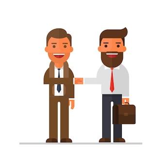 Spotkanie dwóch biznesmen uzgadniania