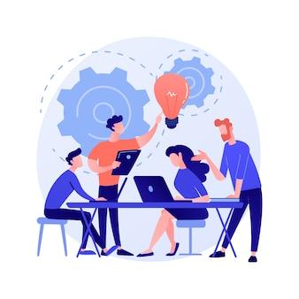 Spotkanie firmowe. postaci z kreskówek pracowników omawiające strategię biznesową i planujące dalsze działania. burza mózgów, formalna komunikacja, ilustracja koncepcji seminarium