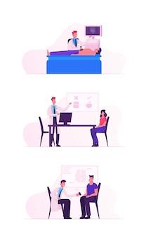 Spotkanie lekarza w zestawie szpitalnym.