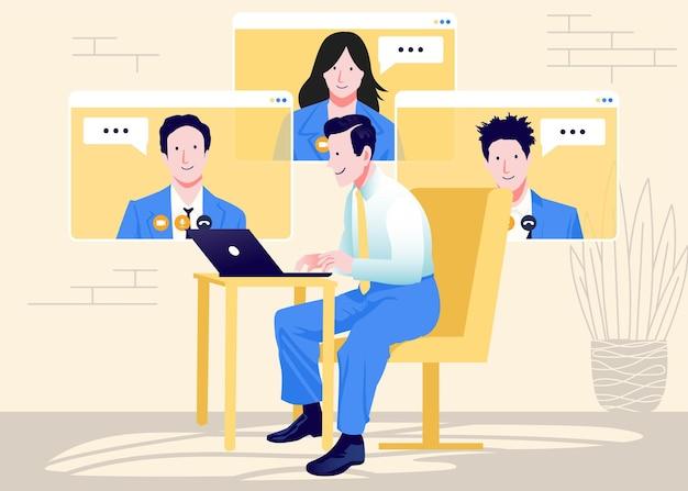 Spotkanie online i praca z domu wektor wzór mężczyzna i kobieta na konferencji pracy zdalnej