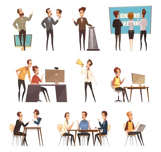 Spotkanie online ikony zestaw z laptopa i kreskówka ludzie na białym tle