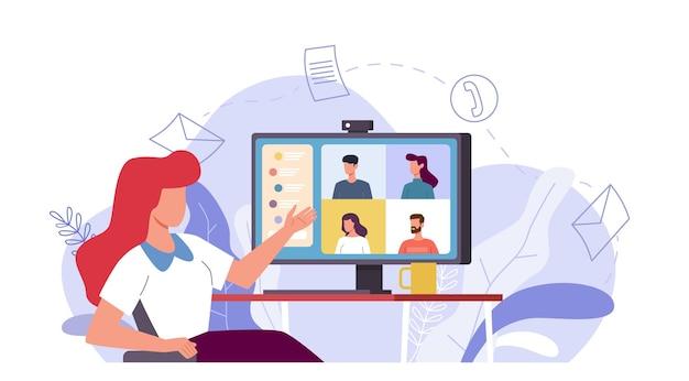 Spotkanie online. kobieta rozmawia z grupą ludzi na ekranie monitora, wideokonferencja zdalna praca z komputerem, wirtualny czat z przyjaciółmi lub e-learning komunikacja internetowa wektor płaska koncepcja