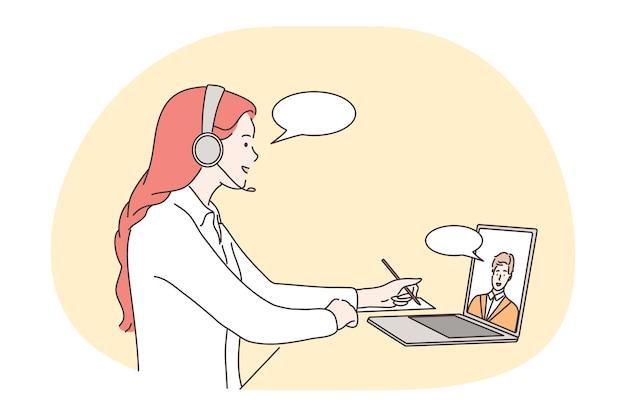 Spotkanie online, komunikacja, praca na odległość, koncepcja telekonferencji. młodzi ludzie współpracują z partnerami biznesowymi, omawiając projekt roboczy online podczas rozmowy wideo i konferencji internetowej