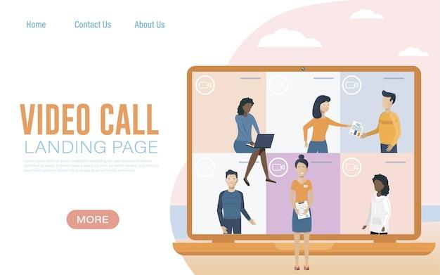Spotkanie online. lądowanie wideokonferencji. wirtualne spotkanie robocze. mieszkanie
