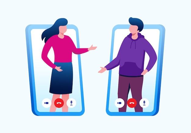 Spotkanie online lub koncepcja wideokonferencji płaska ilustracja wektorowa na banerową stronę docelową