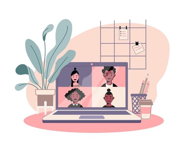 Spotkanie online, wideokonferencja, praca z domu, szczęśliwy zespół roboczy poddany kwarantannie.