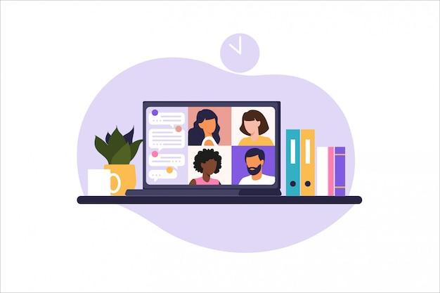 Spotkanie online za pośrednictwem połączenia grupowego. ludzie na ekranie komputera rozmawiają z kolegą lub przyjacielem. ilustracja koncepcja wideokonferencji, spotkania online lub pracy w domu. ilustracja w mieszkaniu.