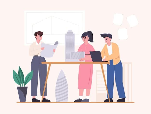 Spotkanie pracowników biura konstrukcyjnego z planowaniem budowy budynku