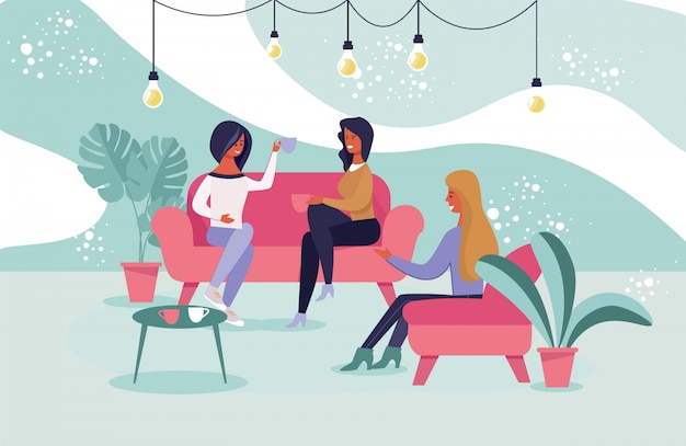 Spotkanie przyjaciół dziewcząt w kawiarni ilustracji wektorowych.