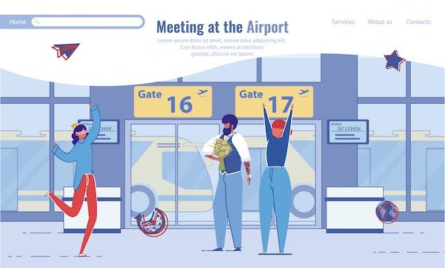 Spotkanie przyjaciół na lotnisku.