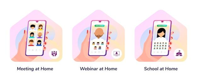 Spotkanie, seminarium internetowe, szkoła, w domu ilustracja gradientu smartfona