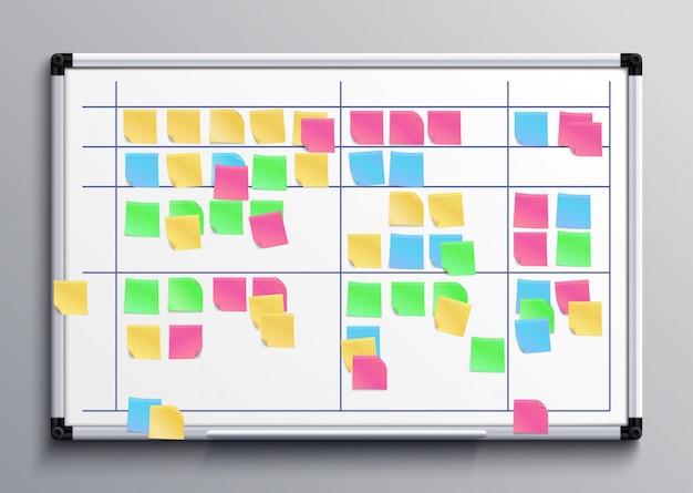 Spotkanie z białą tablicą z kolorowymi naklejkami. tablica zadań scrum z karteczkami z ilustracji wektorowych planu dnia